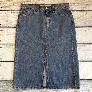 Gap denim pencil style jeans skirt front slit 4